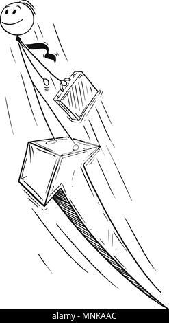 Cartoon of Businessman Standing on the Growth Arrow - Stock Photo