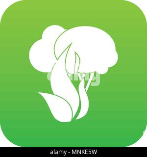 Burning forest trees icon digital green - Stock Photo