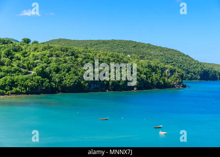Anse la Raye - tropical beach on the Caribbean island of St. Lucia. It is a paradise destination with a white sand beach and turquoiuse sea. - Stock Photo