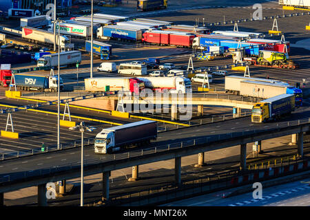 England, Dover harbour. HGVs and trucks heading towards passport control, driving along port roads after disembarking from ferry. Golden Hour. - Stock Photo