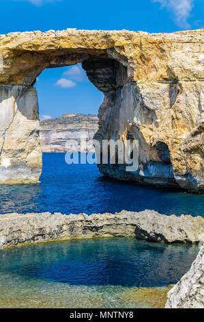 Azure Window, or Dwejra Window, and Blue Hole, Gozo, Malta, Mediterranean Sea, Atlantic Ocean - Stock Photo