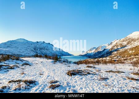 Winter landscape of breathtaking fjords scenery of Senja island in Northern Norway - Stock Photo