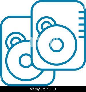 Data storage devices linear icon concept. Data storage devices line vector sign, symbol, illustration. - Stock Photo