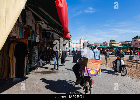 Jamaa el Fna Market square, Marrakech, Morocco. - Stock Photo