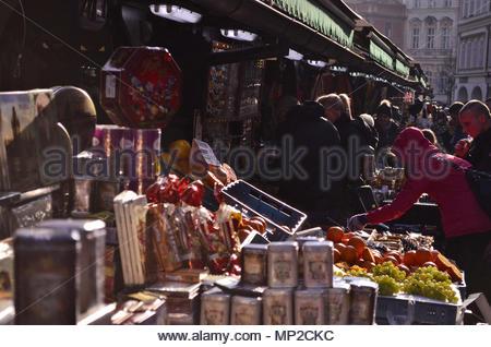 Havelské tržiště (Havel's Market) stalls with merchandise in Old Town Prague Czech Republic Europe. - Stock Photo