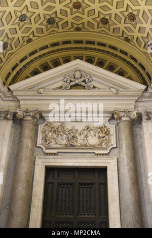 Papal Coat of Arms in the entrance of the Basilica of Santa Maria Maggiore (Papal Basilica of Saint Mary Major), Rome, Italy. - Stock Photo
