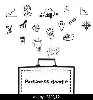 Business doodle icon design element template on white background. - Stock Photo