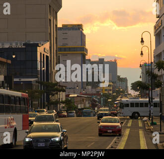 Busy street in San Jose the capital city of Costa Rica - Stock Photo