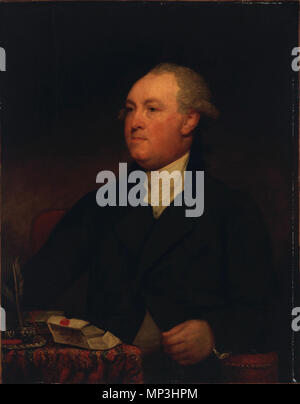 Lord Viscount Sydney .  Portrait painting of Thomas Townshend, 1st Viscount Sydney (1732–1800) by the American painter Gilbert Stuart. The sitter is portrayed life-sizeed at half-length, seated in an armchair upholstered in red and studded with small brass-headed nails, his body is nearly full-front with the head and dark brown eyes turned three-quarters left. He wears a dark green coat with a collar of black velvet, his coat being buttoned across his chest, but opened below, showing a brownish-gray waistcoat. His stock and shirt ruffles are of white muslin and his wig or hair is powdered. His - Stock Photo