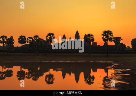 Sunrise over Angkor Wat. Siem Reap, Cambodia. - Stock Photo