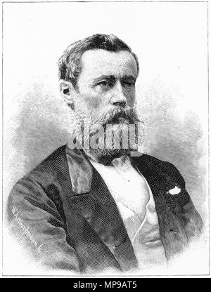 Engraving of Sir John Bates Thurston of Fiji. From the Picturesque Atlas of Australasia Vol 3, 1886 - Stock Photo