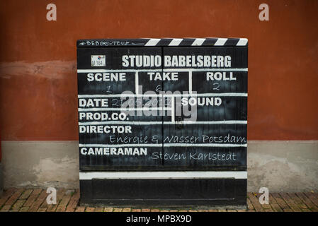 31st August 2017, Potsdam, GERMANY.  CafŽ im Filmmuseum Studio Babelsberg. Clapper Board Filmmaking and video production, © Peter SPURRIER - Stock Photo