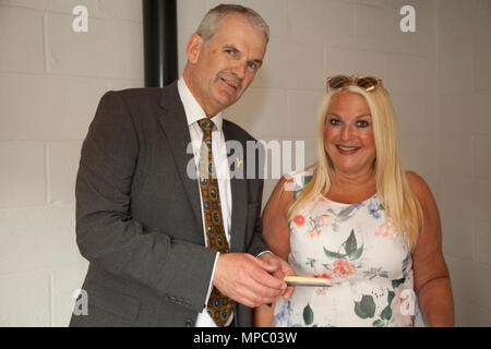 Chelsea, London, UK. 21st May, 2018. David Hartley Managing Director of Wensleydale Creamery and Vanessa  Feltz  cheese tasting in the bothy on the Welcome to Yorkshire garden at Chelsea Flower Show 2018, designed by Mark Gregory for Landformconsultants.co.uk Credit: Jenny Lilly/Alamy Live News - Stock Photo