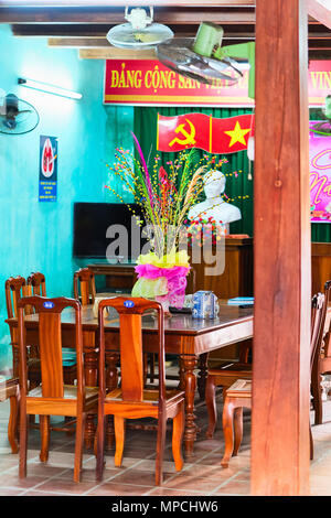 Hoi An, Vietnam - February 17, 2016: Decoration of an open street cafe, Hoi An, Vietnam - Stock Photo