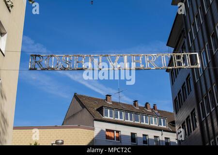 Dortmund, Ruhr Area, North Rhine Westphalia, Germany - April 16 2018: Rosenviertel sign - Stock Photo