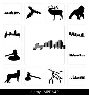 Set Of 13 simple editable icons such as louisiana outline on white background, of manhattan mistletoe background can be used for mobile, web UI - Stock Photo