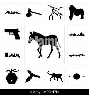 Set Of 13 simple editable icons such as zebra outline on white background, saturn cheetah background can be used for mobile, web UI - Stock Photo