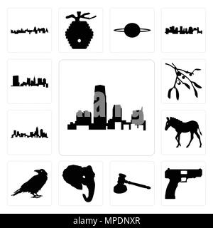 Set Of 13 simple editable icons such as new jersey outline on white background, handgun gavel background can be used for mobile, web UI - Stock Photo