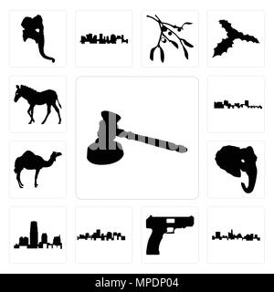Set Of 13 simple editable icons such as gavel outline on white background, state of texas handgun background can be used for mobile, web UI - Stock Photo