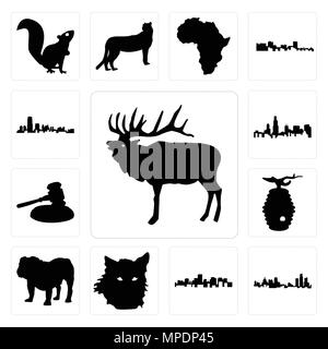 Set Of 13 simple editable icons such as elk outline on white background, michigan state virginia background can be used for mobile, web UI - Stock Photo