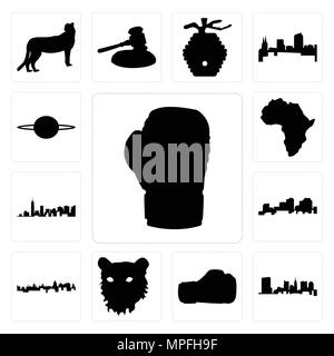 Set Of 13 simple editable icons such as boxing glove outline on white background, state of ohio background can be used for mobile, web UI - Stock Photo