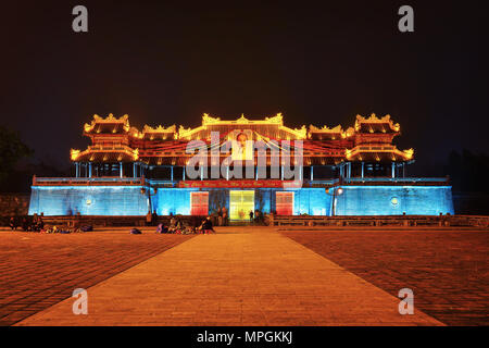 Hue, Vietnam - February 18, 2016: Entrance into Imperial city in Hue, Vietnam in the evening - Stock Photo