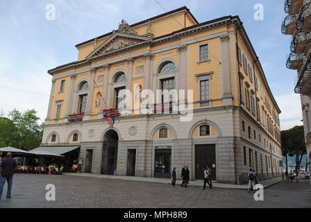 The Palazzo Civico, currently functioning as the city hall of Lugano, Switzerland. - Stock Photo