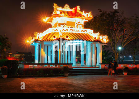 Pagoda near Imperial city in Hue, Vietnam in the evening - Stock Photo