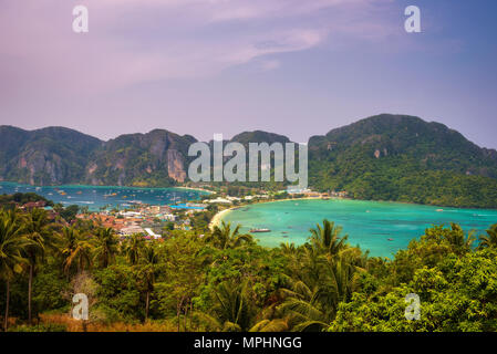 Tonsai Village and the mountains of Koh Phi Phi island in Thailand - Stock Photo