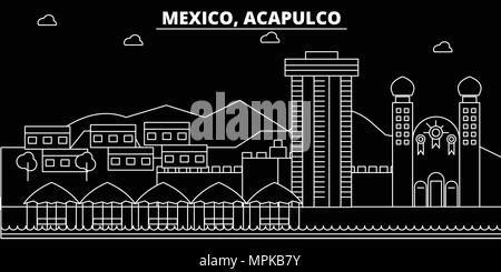 Acapulco silhouette skyline. Mexico - Acapulco vector city, mexican linear architecture, buildings. Acapulco travel illustration, outline landmarks. Mexico flat icon, mexican line banner - Stock Photo