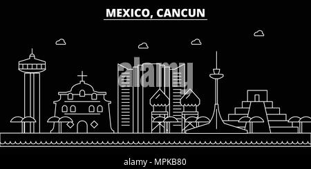 Cancun silhouette skyline. Mexico - Cancun vector city, mexican linear architecture, buildings. Cancun travel illustration, outline landmarks. Mexico flat icon, mexican line banner - Stock Photo