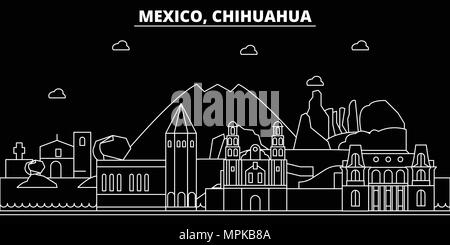 Chihuahua silhouette skyline. Mexico - Chihuahua vector city, mexican linear architecture, buildings. Chihuahua travel illustration, outline landmarks. Mexico flat icon, mexican line banner - Stock Photo