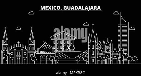 Guadalajara silhouette skyline. Mexico - Guadalajara vector city, mexican linear architecture, buildings. Guadalajara travel illustration, outline landmarks. Mexico flat icon, mexican line banner - Stock Photo
