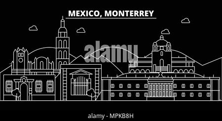 Monterrey silhouette skyline. Mexico - Monterrey vector city, mexican linear architecture, buildings. Monterrey travel illustration, outline landmarks. Mexico flat icon, mexican line banner - Stock Photo