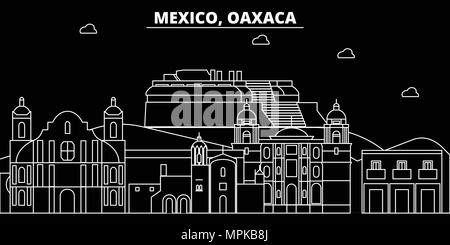 Oaxaca silhouette skyline. Mexico - Oaxaca vector city, mexican linear architecture, buildings. Oaxaca travel illustration, outline landmarks. Mexico flat icon, mexican line banner - Stock Photo