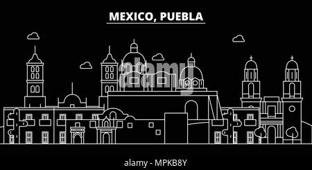 Puebla silhouette skyline. Mexico - Puebla vector city, mexican linear architecture, buildings. Puebla travel illustration, outline landmarks. Mexico flat icon, mexican line banner - Stock Photo
