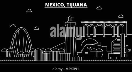 Tijuana silhouette skyline. Mexico - Tijuana vector city, mexican linear architecture, buildings. Tijuana travel illustration, outline landmarks. Mexico flat icon, mexican line banner - Stock Photo