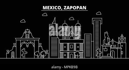 Zapopan silhouette skyline. Mexico - Zapopan vector city, mexican linear architecture, buildings. Zapopan travel illustration, outline landmarks. Mexico flat icon, mexican line banner - Stock Photo
