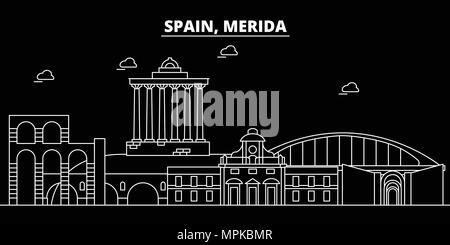 Merida silhouette skyline. Spain - Merida vector city, spanish linear architecture, buildings. Merida travel illustration, outline landmarks. Spain flat icon, spanish line banner - Stock Photo