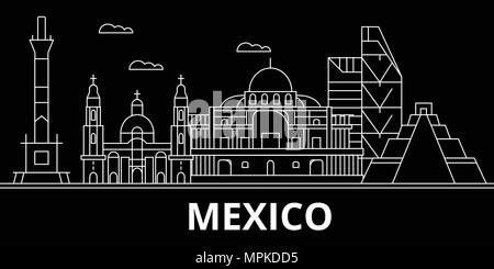 Mexico silhouette skyline, vector, city, mexican linear architecture, buildings. Mexico travel illustration, outline landmarks, flat icons, mexican line banner - Stock Photo