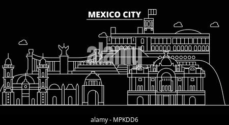 Mexico silhouette skyline, vector city, mexican linear architecture, buildings. Mexico travel illustration, outline landmarks, flat icons, mexican line banner - Stock Photo