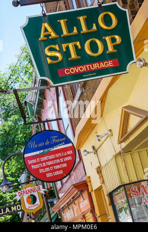 Quebec City Canada Rue Saint Jean business signs - Stock Photo
