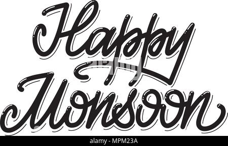 Happy Monsoon. Summer lettering. Vector elements for invitations, posters, greeting cards. T-shirt design - Stock Photo