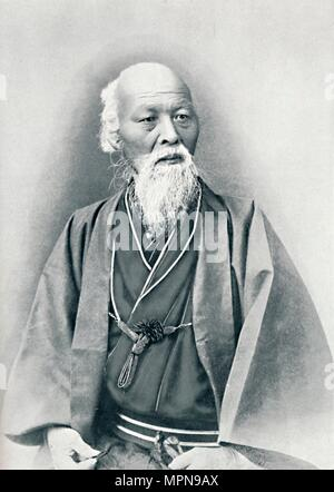 An aged Japanese doctor in full dress costume, 1902. Artist: Unknown. - Stock Photo
