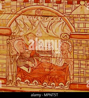 Nativity, Norwegian, 13th Century,  in the Stave Church at Al, Hallingdal.  Artist: Unknown. - Stock Photo