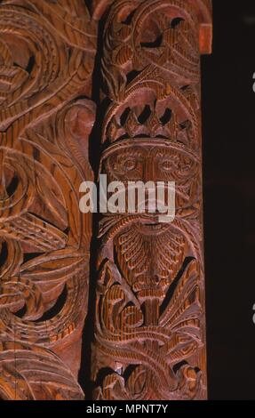 Detail of carving of Stave Church from Gol in Hallingdal, built c1200. Artist: Unknown. - Stock Photo