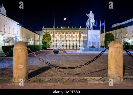 Prince Jozef Poniatowski sculpture at Presidential Palace in Warsaw, Poland - Stock Photo
