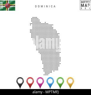 Vector Dotted Map of Dominica. Simple Silhouette of Dominica. National Flag of Dominica. Set of Multicolored Map Markers - Stock Photo