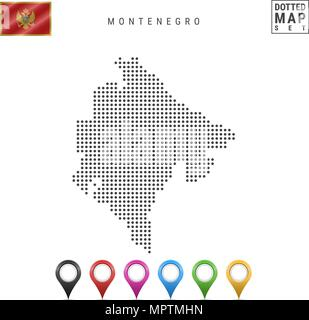 Vector Dotted Map of Montenegro. Simple Silhouette of Montenegro. Flag of Montenegro. Set of Multicolored Map Markers - Stock Photo