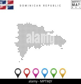Vector Dotted Map of Dominican Republic. Silhouette of Dominican Republic. Flag of Dominican Republic. Map Markers Set - Stock Photo